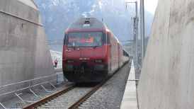 Train at northern portal of the Gotthard base tunnel during commissioning tests