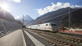 Test train ICE-S at northern portal of Gotthard base tunnel during commissioning tests