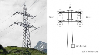 Pylon of traction power supply of Gotthard base tunnel